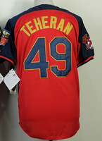Wholesale!Cheap,#49 Julio Teheran Men's Red/Blue 2014 All Star New Embroidery logos Baseball Jerseys Sale!