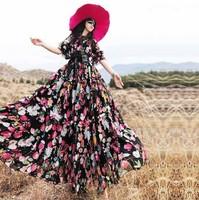 2014 Autumn fashion flower dress women's plus size vintage long maxi dress mopping the floor beach dress half sleeve 4 colors
