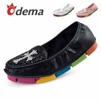 ODEMA 2014 new women single shoes fashion sneakers women's loafers soft flats ladies casual bow shoes rubber colorful sole hot