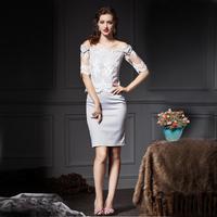 YIGELILA 887 Vintage Lace Slash Neck Bow Shoulder Women Skirt Suit 2 Pieces Sets Free Shipping