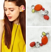 High quality zinc alloy and nickel plating acrylic stones Earrings ear cuf 3.8*0.8cm