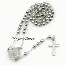 Silver chain Beads pendant 3mm Stainless Steel Religous Rosary Cross Necklace jewlery jesus tardis acessorios para mulher BRN56