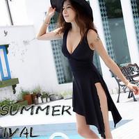 2014 spring plus size Sexy beach skirt swimwear women summer dress one-piece fork beach cover up dress swimsuit pareo beachwear