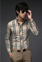 Hot Fashion New Style Men's  Casual Slim Fit Plaid Dress Shirts