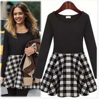 New 2014 Fashion Winter Dress Long Sleeve Above Knee Women Dress Vintage Plaid Print Casual Dresses Europre style 2014Autumn