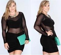 XL/XXL/XXXL/4XL 2014 New Woman Sexy Club Dress Ladies Transparent Short Clubwear Dress Long Sleeve Fast Shipping Party Dress