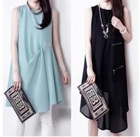 Plus size clothing 2014 fashion irregular basic a-line skirt sleeveless chiffon one-piece dress