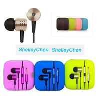 Xiaomi bass piston headset Xiaomi 2  Ear Headphones wire millet colored metal headset  with mic for iPhone 4 5 Samsung S3 S4 S5