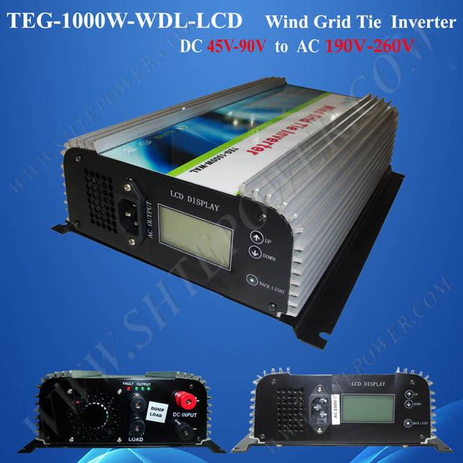 on grid tie inverter wind 1000w dc 45-90v to ac 220v/230v/240v with lcd display(China (Mainland))