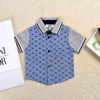Retail  Brand   2014  New fashion summer  baby boys short  shirts  turn-down collar shirt cotton  shirt  single  breasted  shirt