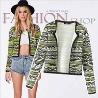 Women coat 2014 New Streetwear Style Geometric Printing short coat jacket for Women casacos femininos Outerwear Free Shipping