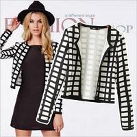 New 2014 Grid Geometric Printing jackets Coat women Long sleeve coat jacket for Women casacos femininos Outerwear Free Shipping