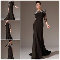 Hot 2015 Sheer Long Sleeves With Silver Applqiues Floor Length Black Mermaid Prom/Evening Dresses Party Gowns
