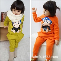 wholesales Autumn children's clothes suit kid's cotton long-sleeved cartoon monkey clothes 2 set 3-7 ages