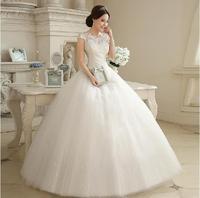 Fashion Sweet Lace Wedding dress 2014 Boat Neck Floor-Length Princess White wedding dresses vestido de noiva Bridla Gown W47