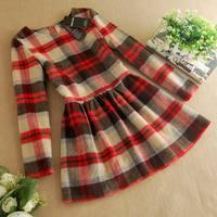 2014 Women Winter Dress New  Thick Woolen Dress Winter Fashion Sweater Dress Brief Contrast Color A-Line Knitting Wool Dress