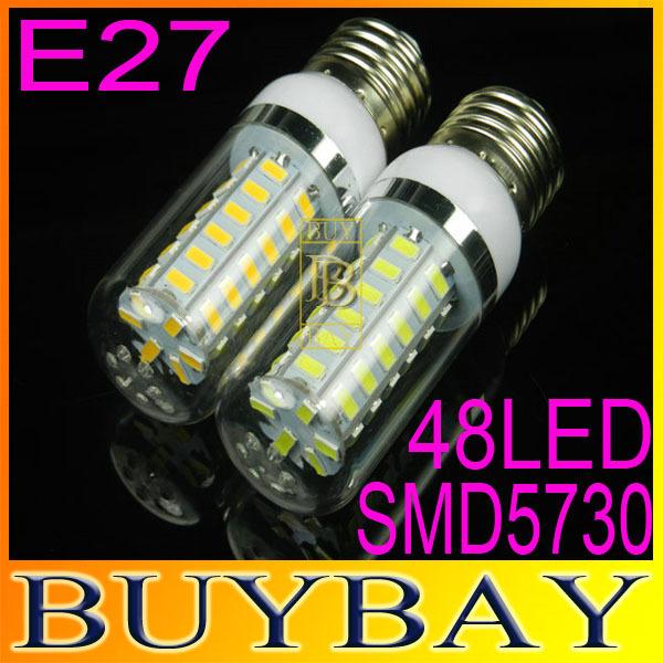 2pcs/lot SMD5730 E27 220V chandelier led corn bulb, E27 48LED 5730 15W War