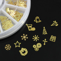 5pcs/lot Wheel Gold Color Wreath Snowflake Xmas Tree Gift Box Mini Metal Slice Salon Alloy Nail Art Tips Scrapbooking Decoration