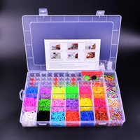 2200pcs Crazy and Fun Family Loom Bands Box Sets rubber bands for loom bracelets Charms Pendant Silicone Kit Refills