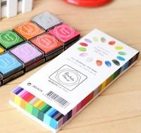 new Free ship 1lot=5sets/korean stationery kawaii Lovely color ink Seal companion DIY inkpad school supplies