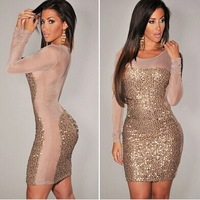New Arrival Women's European Style Fashion Sexy Sequined Mini Dress In Club And Party Stylish Long Sleeve Plus Size Sheath Dress
