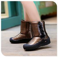 2014  snow botas ankle Senior grind arenaceous boots Blue purple golden white women shoes Thick wool cloth with soft nap