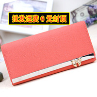 Girls Purse Women Wallet Card Package 13 women's long design scrub wallet chromophous bow day clutch big capacity