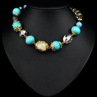 turquoise stone 2014 Bohemia Style Match With Green Yellow Seasonal Fashion Pretty Resin Necklace NZ0181