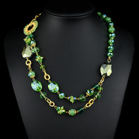 2014 Bohemia Style Green Dream Double Layer Long Necklace For Women