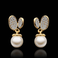18K gold plated new brand pearl stud earring  jewelry fashion  earrings for women 2014