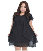3QMISS Summer big size women dress fat female black o-Collar Chiffon Dress Sexy loose and comfortable