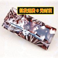 Women Wallet Card Package Women's women's long design wallet japanned leather shiny flower rustic clip day clutch wallet