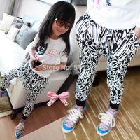 Free shipping autumn models girls like irregular geometric patterns crotch harem pants e602 TZ02C04