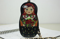 New Arrival Adorable Russian Doll TPU Back Cover Case For Iphone 5 5s 5g Handbag Style With Chain 5 Patterns Freeshipping 1PCS