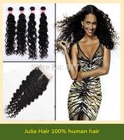 6A Top Quality  Peruvian Virgin Hair 5pcs lot Deep Wave 1pc Lace Closure With 4pcs Bundles Unprocessed Human Hair Weft Extension