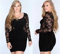 2014 Sexy Women Bandage Party Dresses Summer Black Evening Wear Dresses Night Club Long-sleeve Bodycon Dress XL/XXL/XXXL/4XL