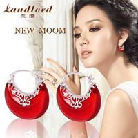 2014 New Fashion Wholesale Genuine 100% Real Pure 925 sterling silver jewelry luxury new moon drop earrings for women YEZT-0021