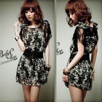 Women's summer 2014 bohemia silk skirt female lace one-piece dress chiffon plus size