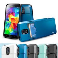 For Samsung Galaxy S5 i9600 SGP SPIGEN Tough Armor Case SLIM ARMOR Linear Hybrid Series silicone Card wallet Design Cover