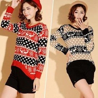 Winter New Korean Version Christmas Deer Loose Pullover Sweater Casaco de la Feminino