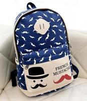 HOT! Fashion Moustache women and Men's backpacks Students School Bag Travel Bag