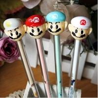 Popular 24pcs/lot Black Refill Super Mario Hat Gel Ink Pen Mix Styles Pens Stationery Office/School Supplies #GP026