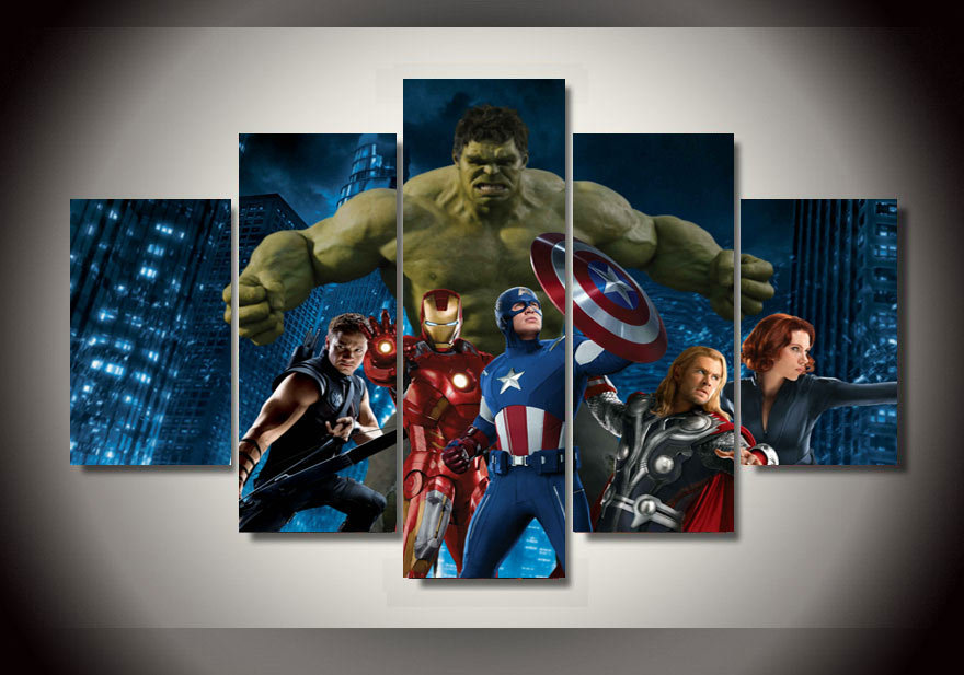 Framed printed the avengers movie group painting on canvas for Poster decoratif