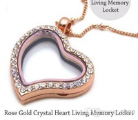 Wholesale - 5pcs Rose Gold Crystal Heart Living Memory Locket For Floating Charm