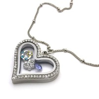 Wholesale - 5pcs Crystal Silver Classic Heart Memory Locket Necklace For Floating Charm