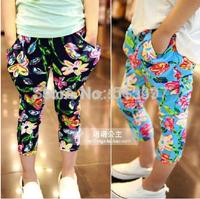 Free shipping girls like big flower elastic waist harem pants casual pants pantyhose 7 Points # e816 TZ02A27