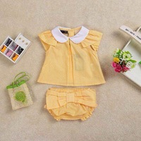 Retail  Brand  2014  new  summer  fashion   baby  girls  sets  three  colors  single  breasted  shirt  free  shipping