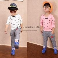 Autumn 2014 Boy Clothing Set Cartoon Cotton Clothes Mustache Cartoon Top Grey Pants Children Wear Free Shipping