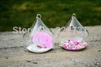 Free Shipping Flat Bottom Transparent Glass Vase for Wedding Decor