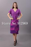 Free shipping custom made V-neck cap sleeve evening dresses tea length formal dresses women for special occasion